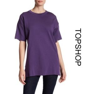 NWT [topshop] Purple Ribbed Compact Tee US 2